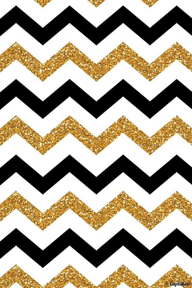 Black And Gold Glitter Chevron 640x960