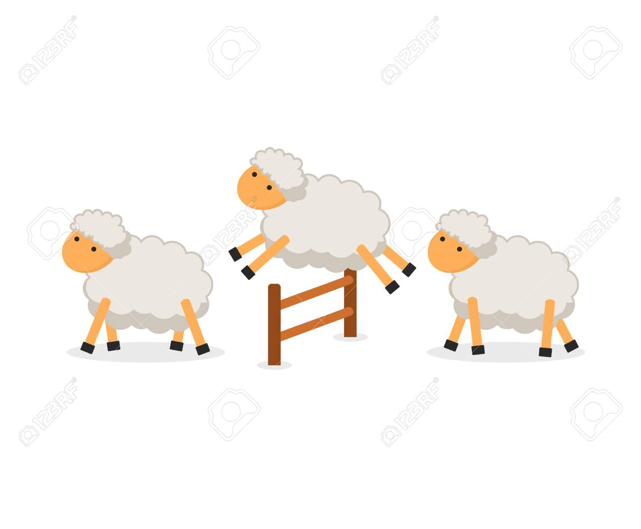 Cute Sheep Jumping Over Fence Isolated On White Background 1300x1073