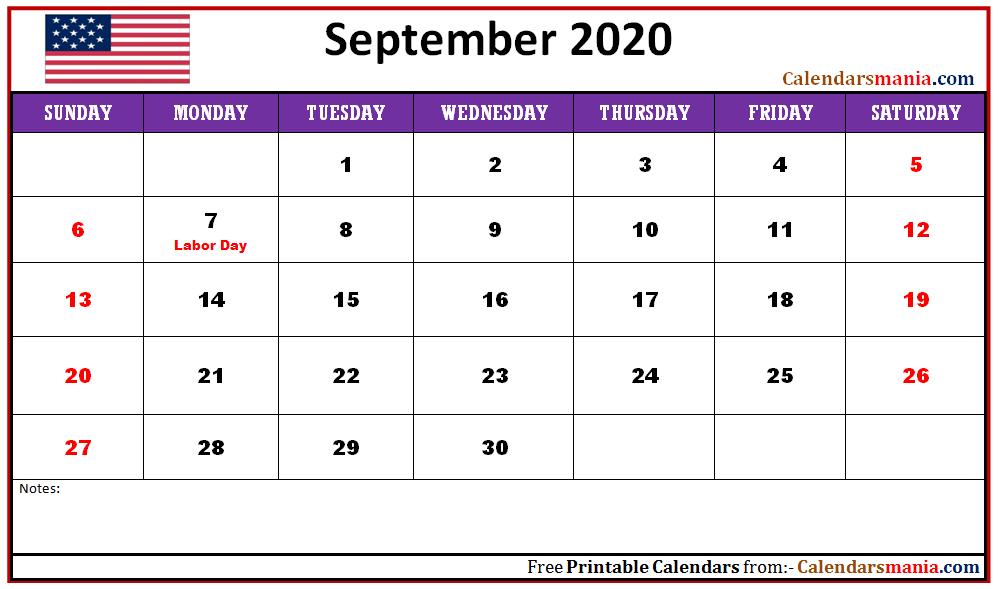 September 2020 USA Holidays Calendar Holiday calendar Usa 999x589