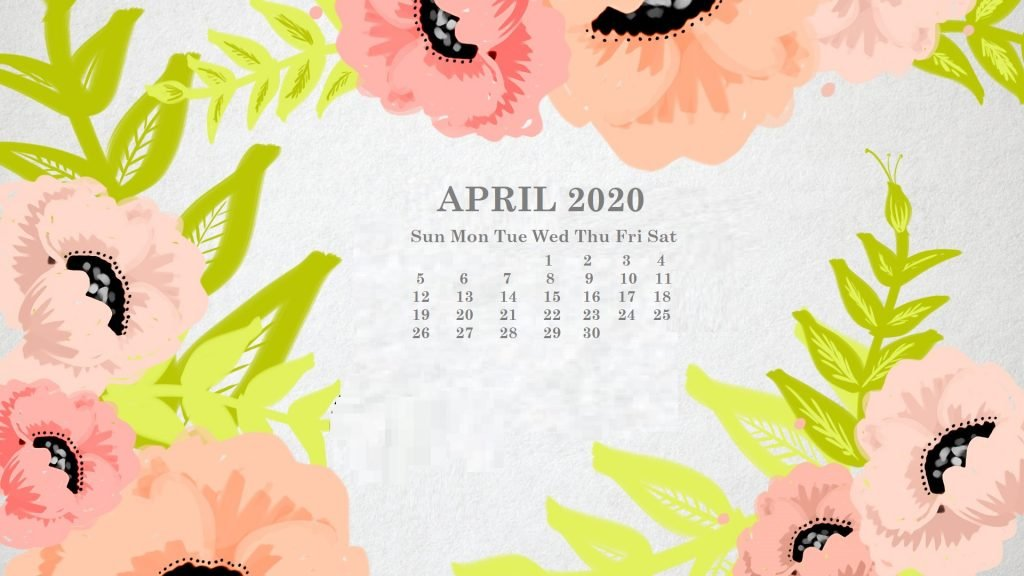 Monthly 2020 Desktop Calendar Wallpaper 1024x576