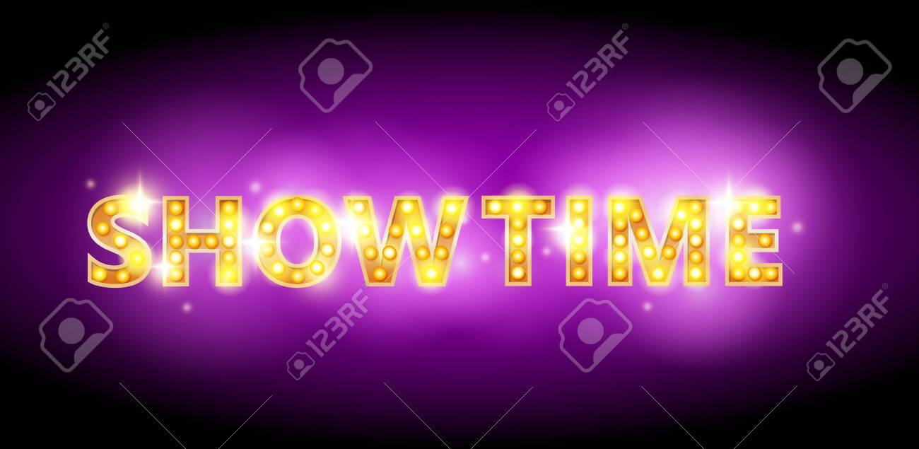 Show Time Bulb Letters Advertisement Vector Illustration Showtime 1300x635