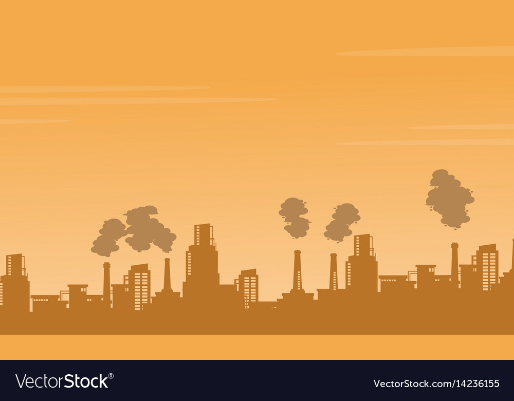 Silhouette industry pollution background Vector Image 1000x780