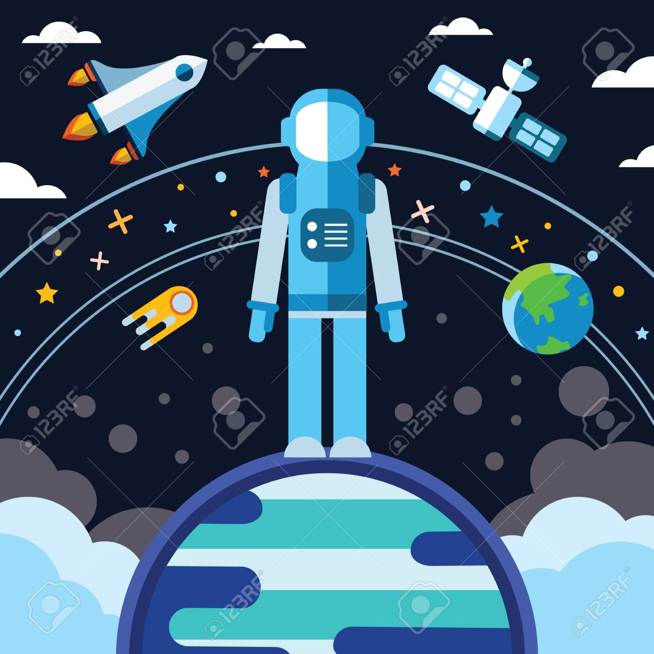 Vintage Space And Astronaut Background Colored Vector 1300x1300