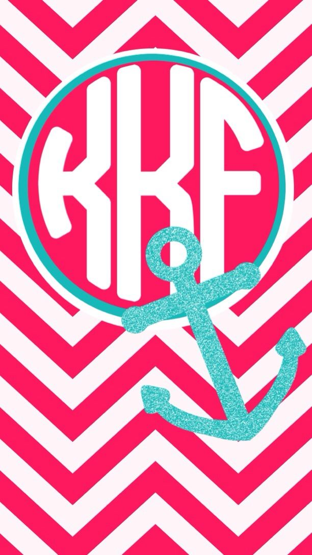 Glitter teal anchor on pink chevron monogram wallpaper Made with 612x1087
