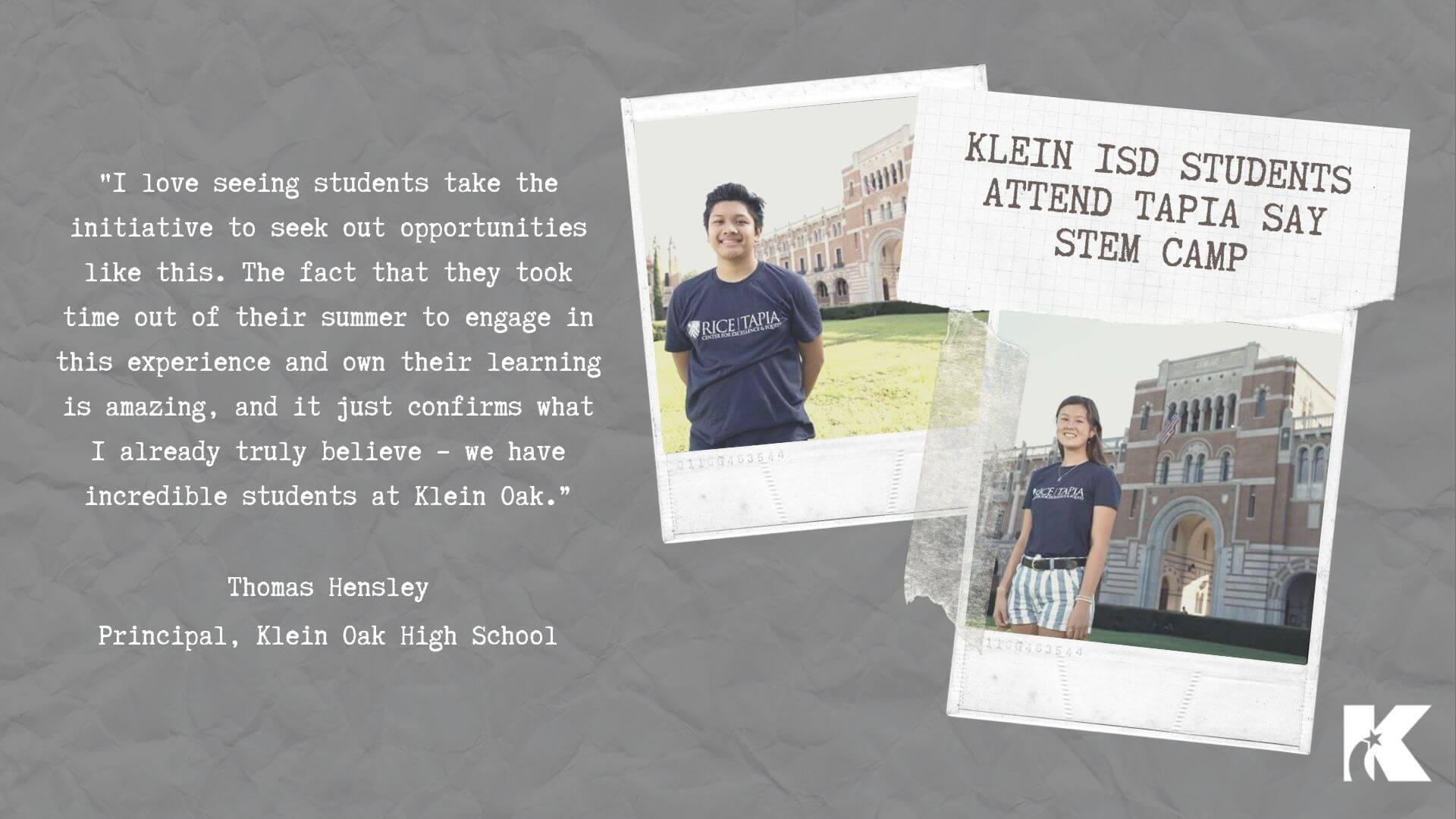 Students Attend STEM Camp at Rice University Klein ISD Newsroom 1920x1080