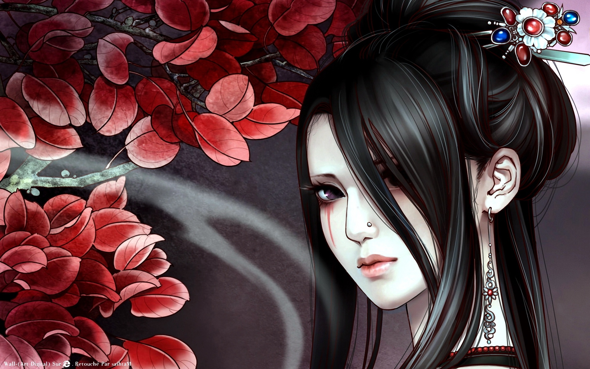 Anime Geisha anime asian brunette close up face geisha girl 1920x1200