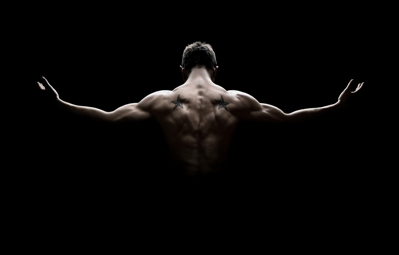 Wallpaper man muscles pose back strength shadow images for 1332x850