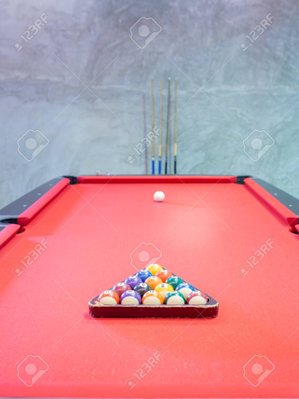 Billiard Ball On Red Table Background In Pub Bar Room Concept 973x1300