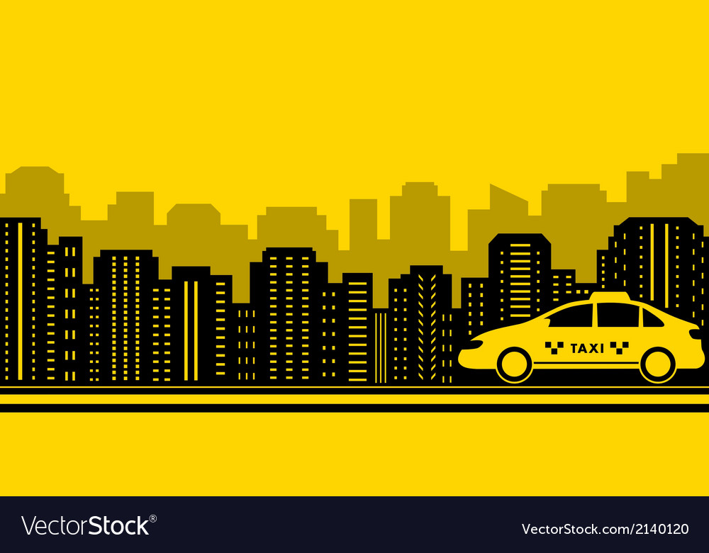 Taxi city background Royalty Vector Image 1000x780