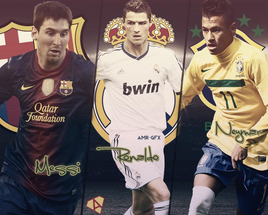 Messi Ronaldo Neymar design by AmrEzzat 900x720