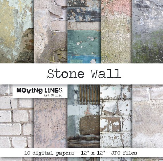 Contrast Between Stone And Plaster Finish: Distressed Plaster Wallpaper
