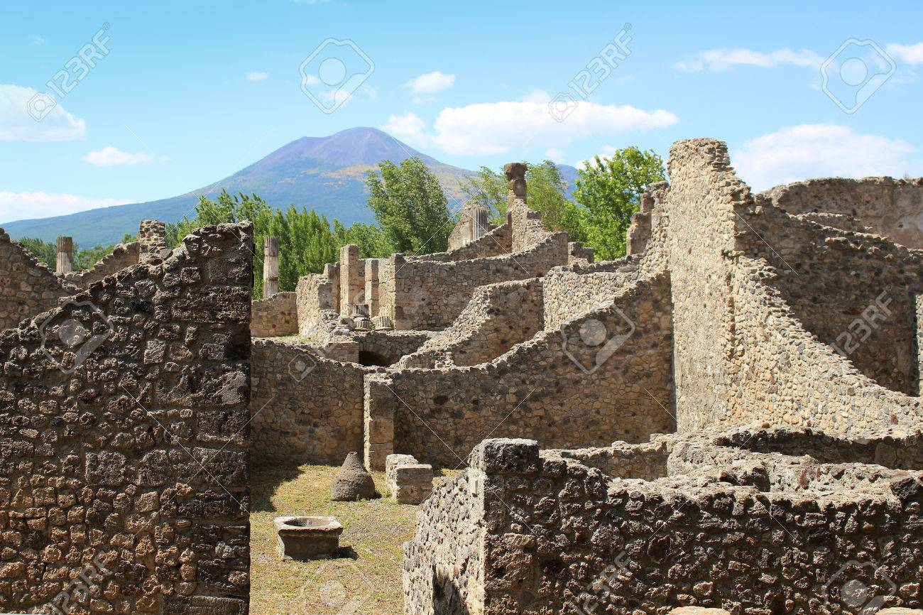 View Of Ruins In The Old City Of Pompeii Italy With Mount 1300x866