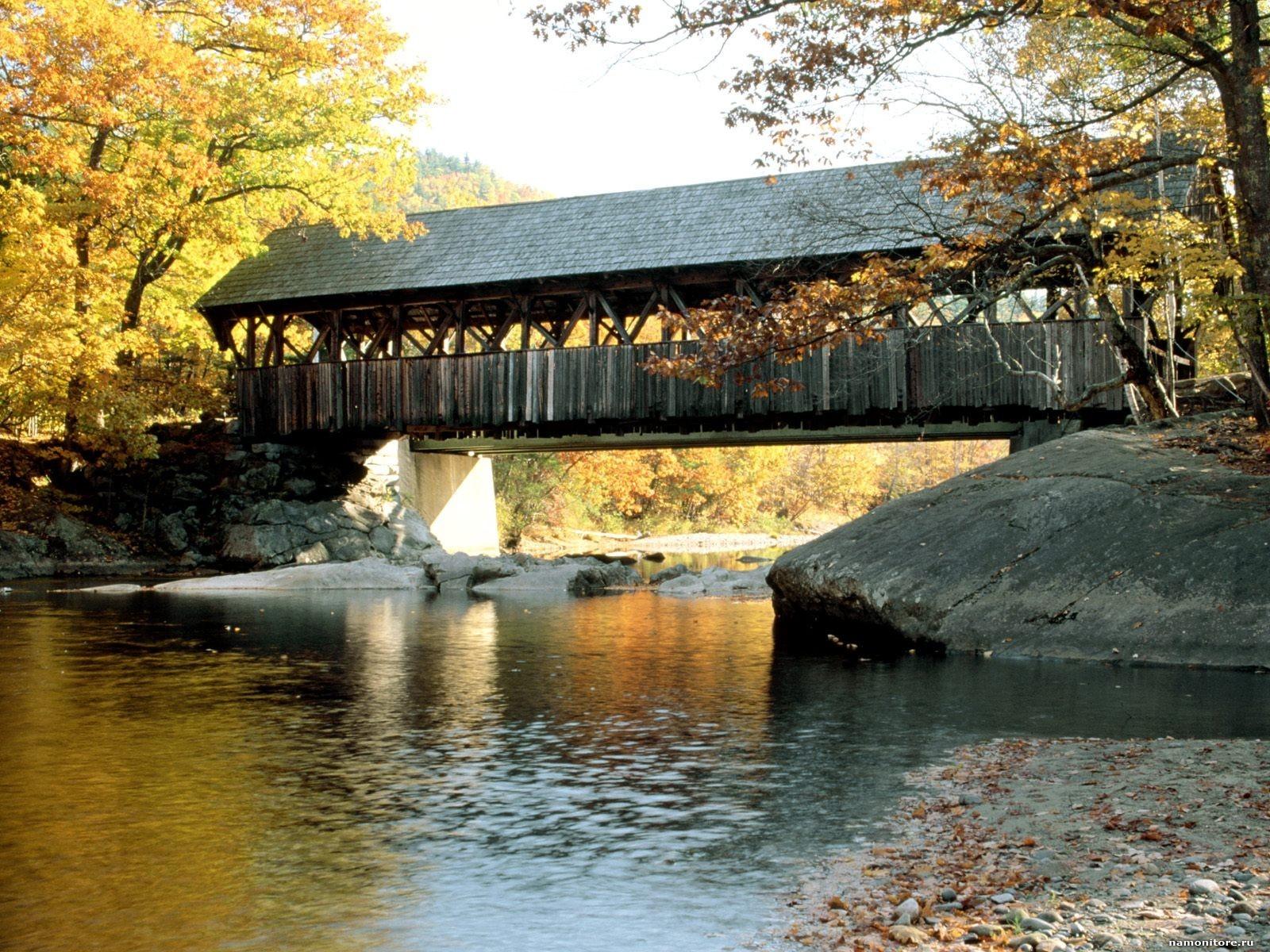 Autumn Covered Bridge Wallpaper Wallpapersafari