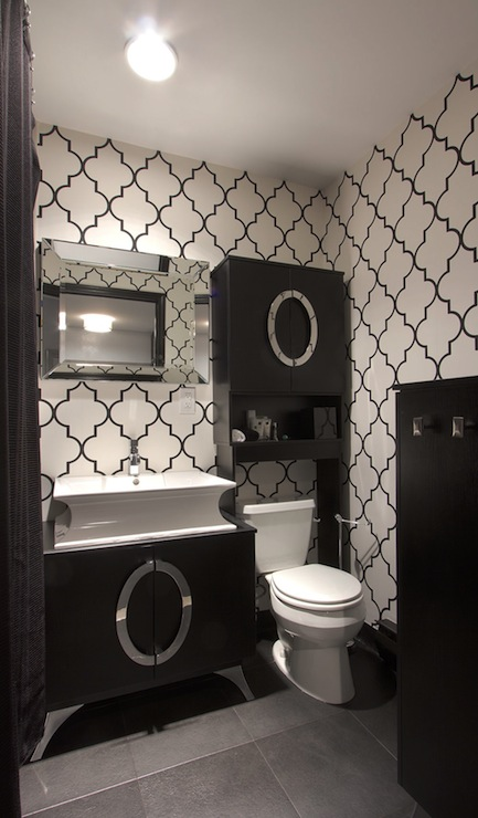 Free Download Black And White Trellis Wallpaper Contemporary Bathroom Vanessa 433x740 For Your Desktop Mobile Tablet Explore 50 Black And White Wallpaper For Bathroom Black And White Wallpaper Bathroom