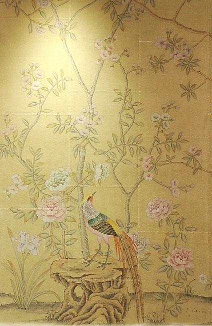 hand painted wallpaper chinoiserie wallpaper silk wallpaper 424x650