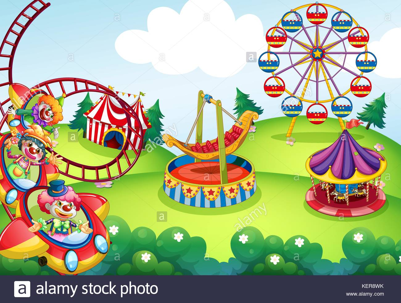 Wallpaper of circus and theme park design Stock Vector Art 1300x982