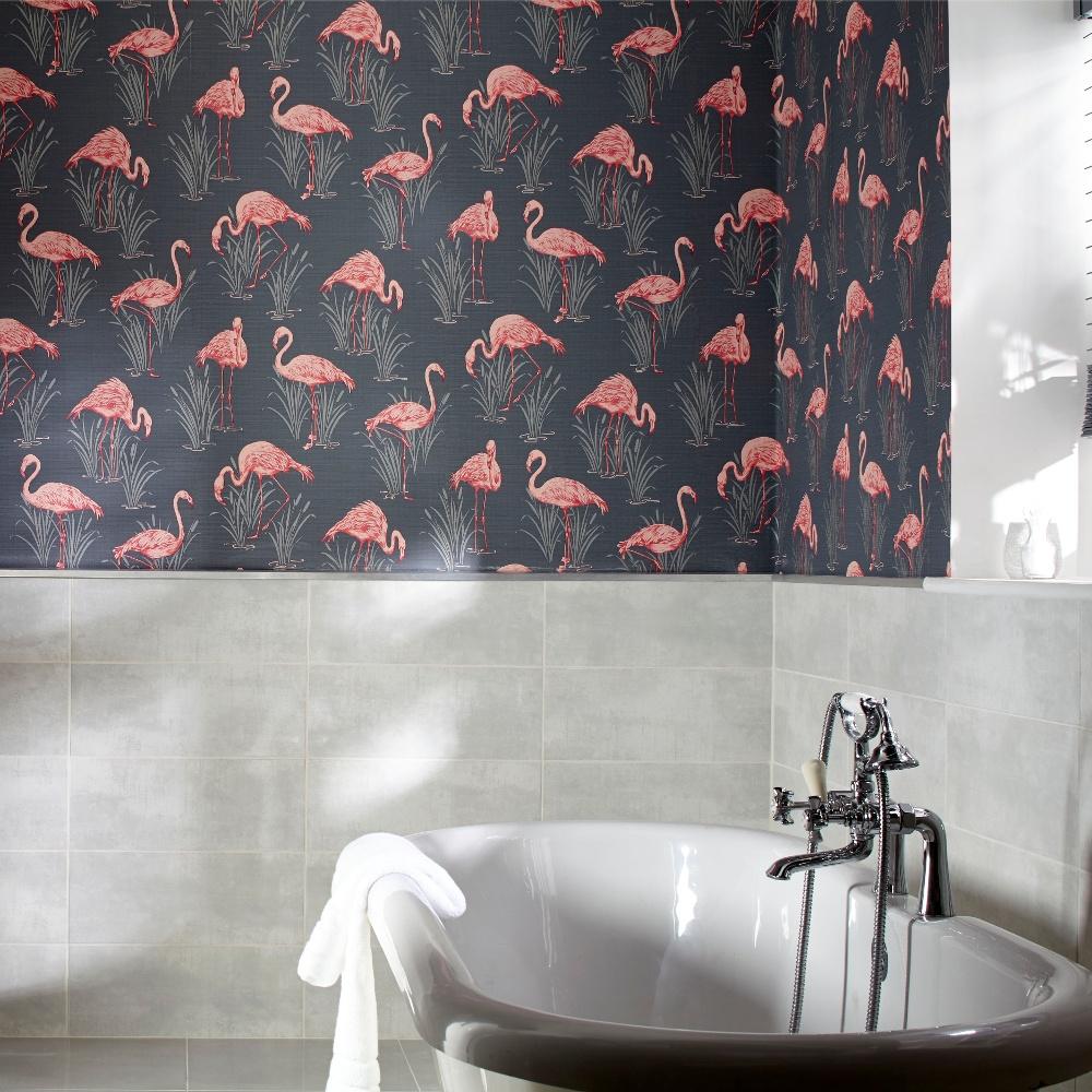 Vintage Lagoon Traditional Oriental Flamingo Textured Wallpaper 252603 1000x1000
