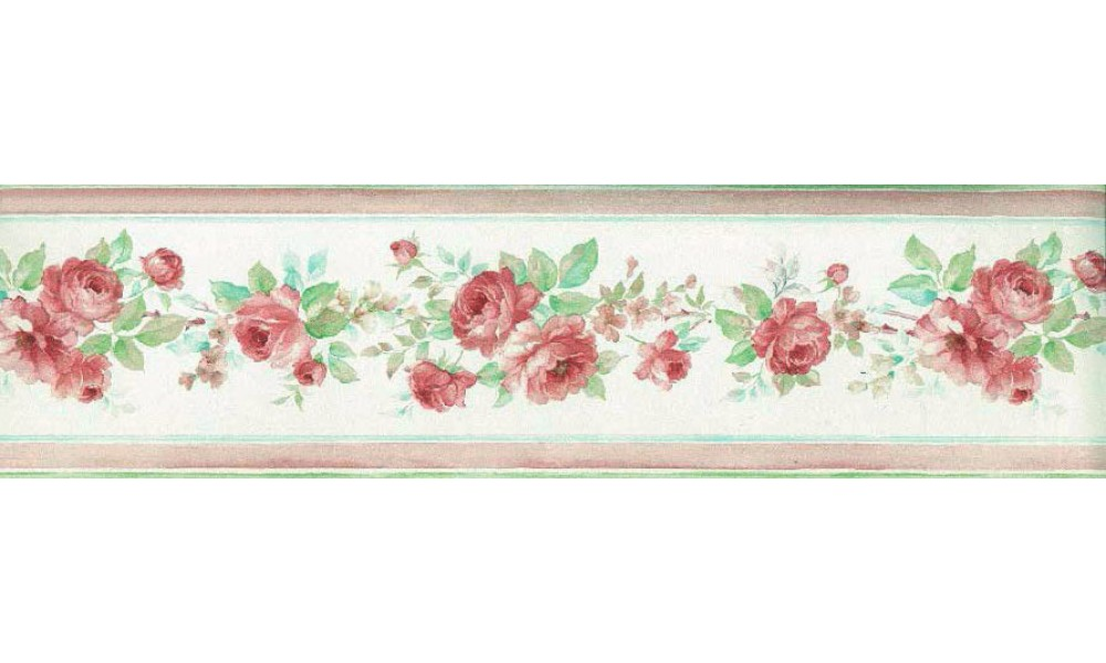 Home Pink Floral Roses Wallpaper Border 1000x600