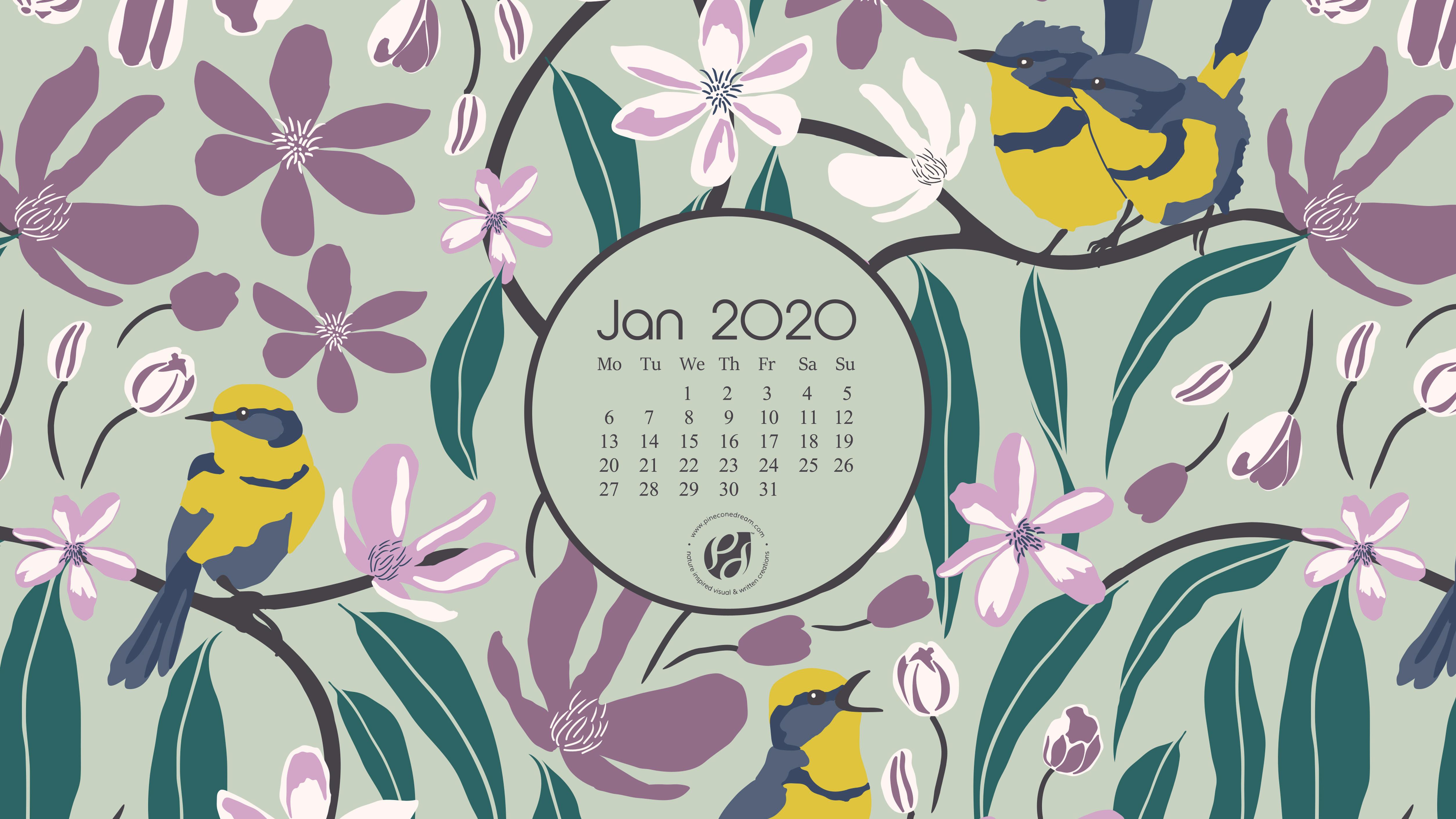 download Jan 2020 calendar wallpapers printable planner 5015x2821
