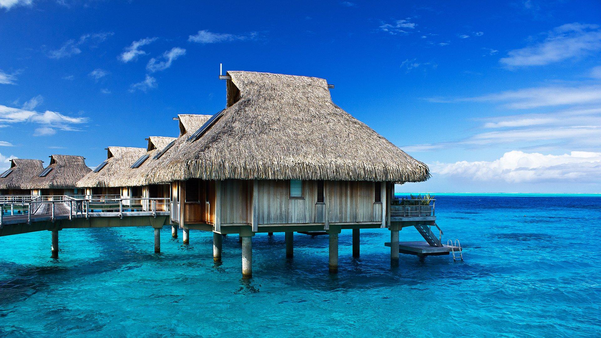 Tropical Hut Resort Ocean wallpaper 1920x1080 248076 WallpaperUP 1920x1080