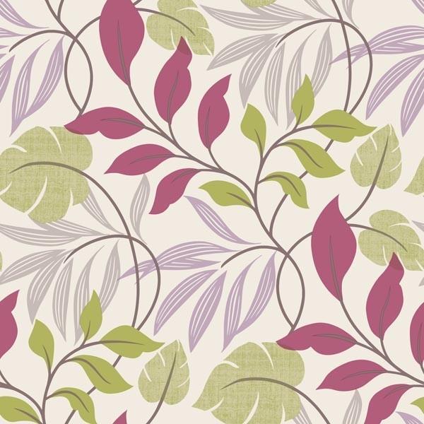Eden Purple Modern Leaf Trail Wallpaper contemporary wallpaper 600x600