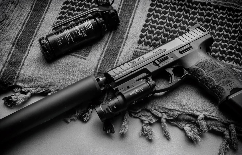 Wallpaper gun Weapons gun pistol weapon muffler Tactical 1332x850