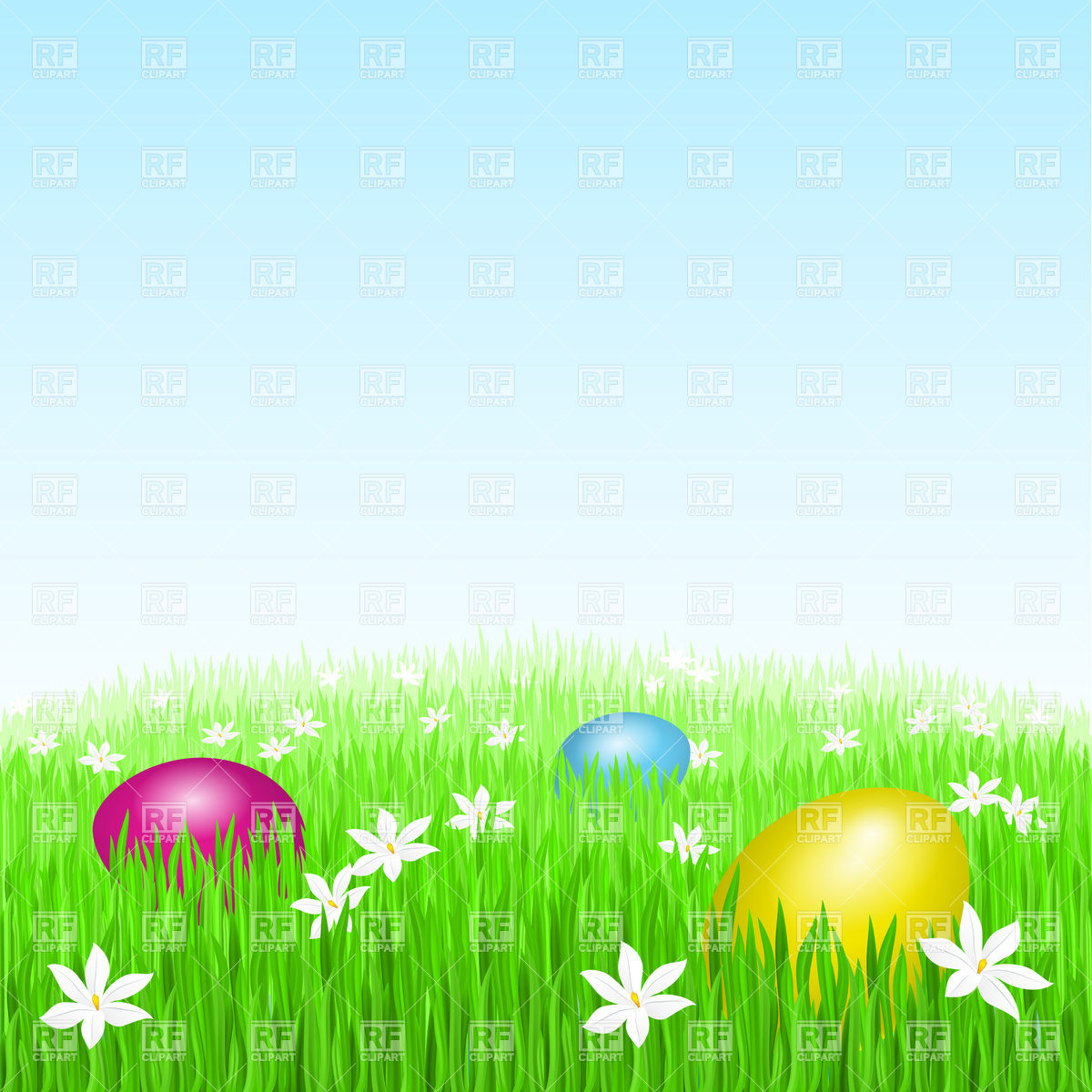 Easter eggs on green grass Vector Image of Backgrounds Textures 1200x1200
