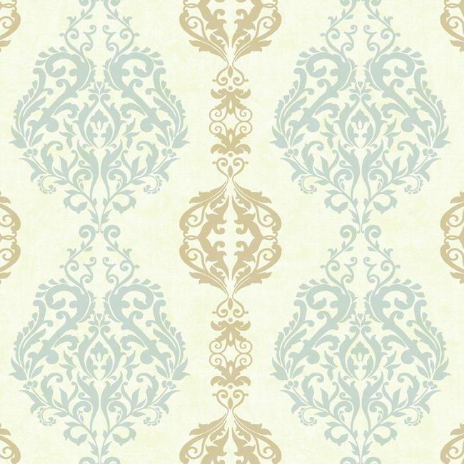 District17 Blue and Beige Damask Stripe Wallpaper Wallpaper 650x650