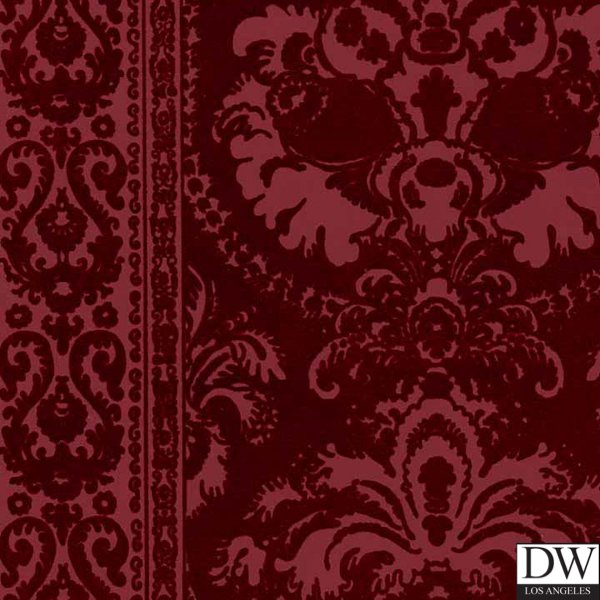 Victorian Flocked Velvet Wallpaper   Tone on Tone Burgundy [FLK 103 600x600