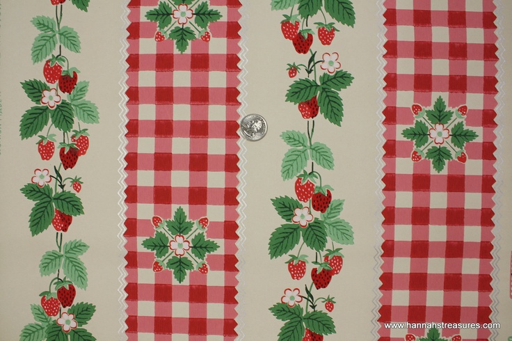 1940s Vintage Wallpaper strawberry and gingham check via Etsy 736x490