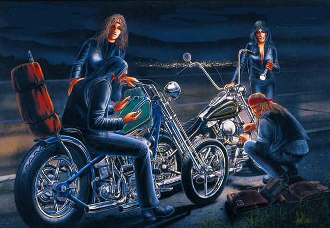 David Mann Motorcycle Art Wallpaper 1152x796