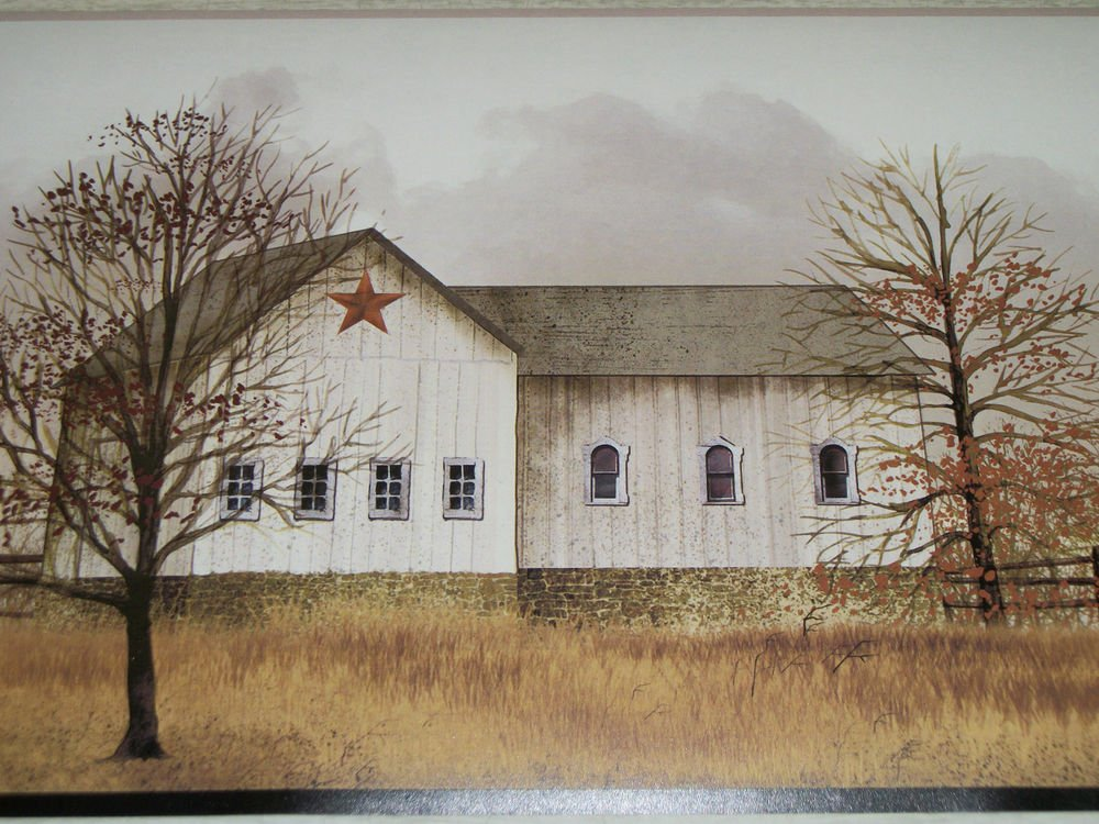 Free Download Country Primitive House And Barn Scene Trees