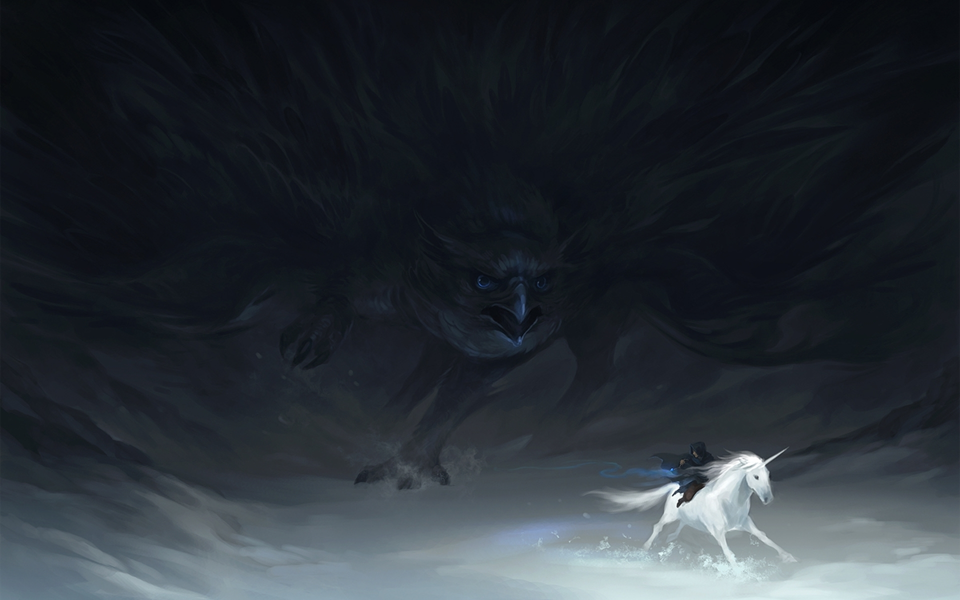 Fantasy art unicorn dark gothic bird raven wallpaper 1920x1200 1920x1200