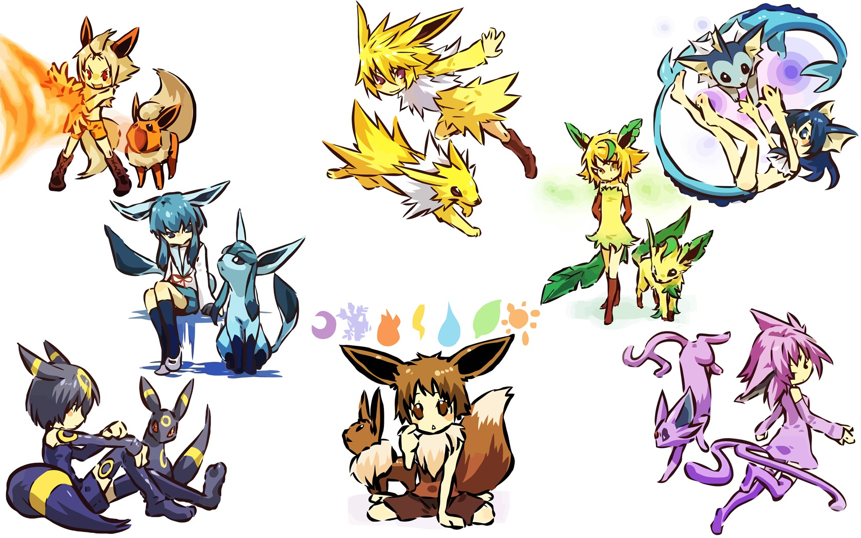 Eevee Evolutions wallpaper Cute Chibi Wallpaper 1680x1050