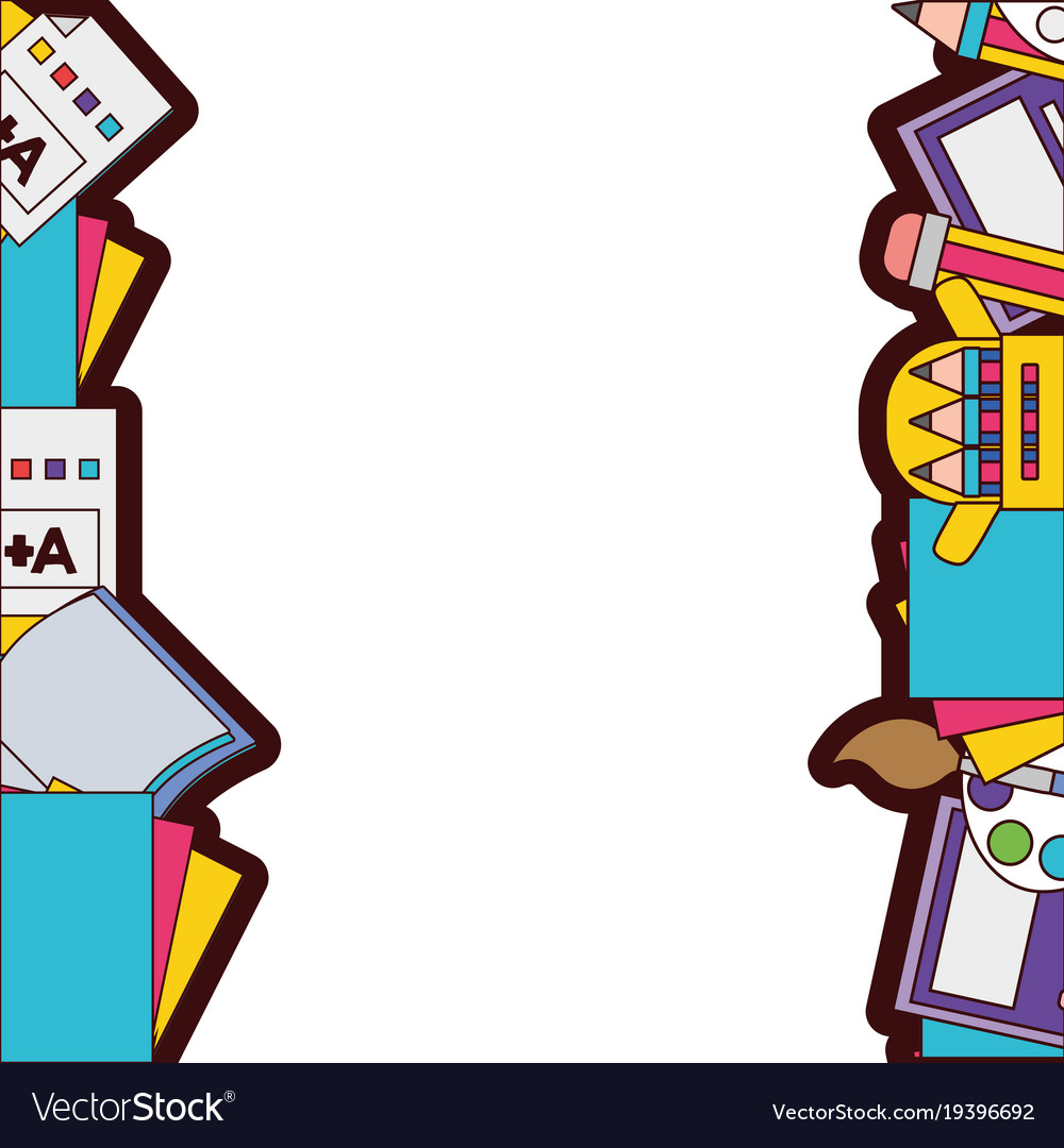 Full color school tools education background Vector Image 1000x1080