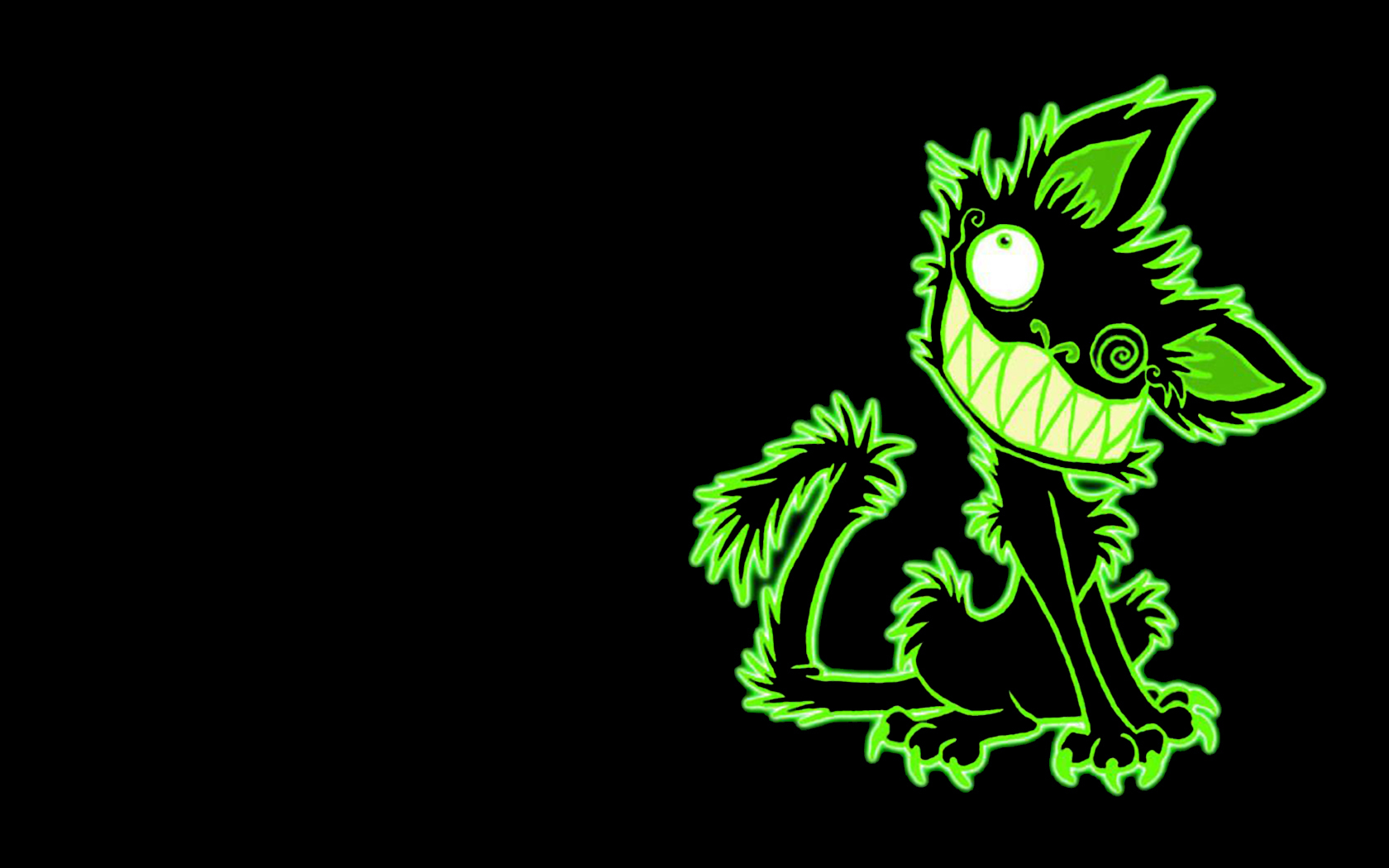 Green cat on the black background wallpapers and images   wallpapers 1680x1050