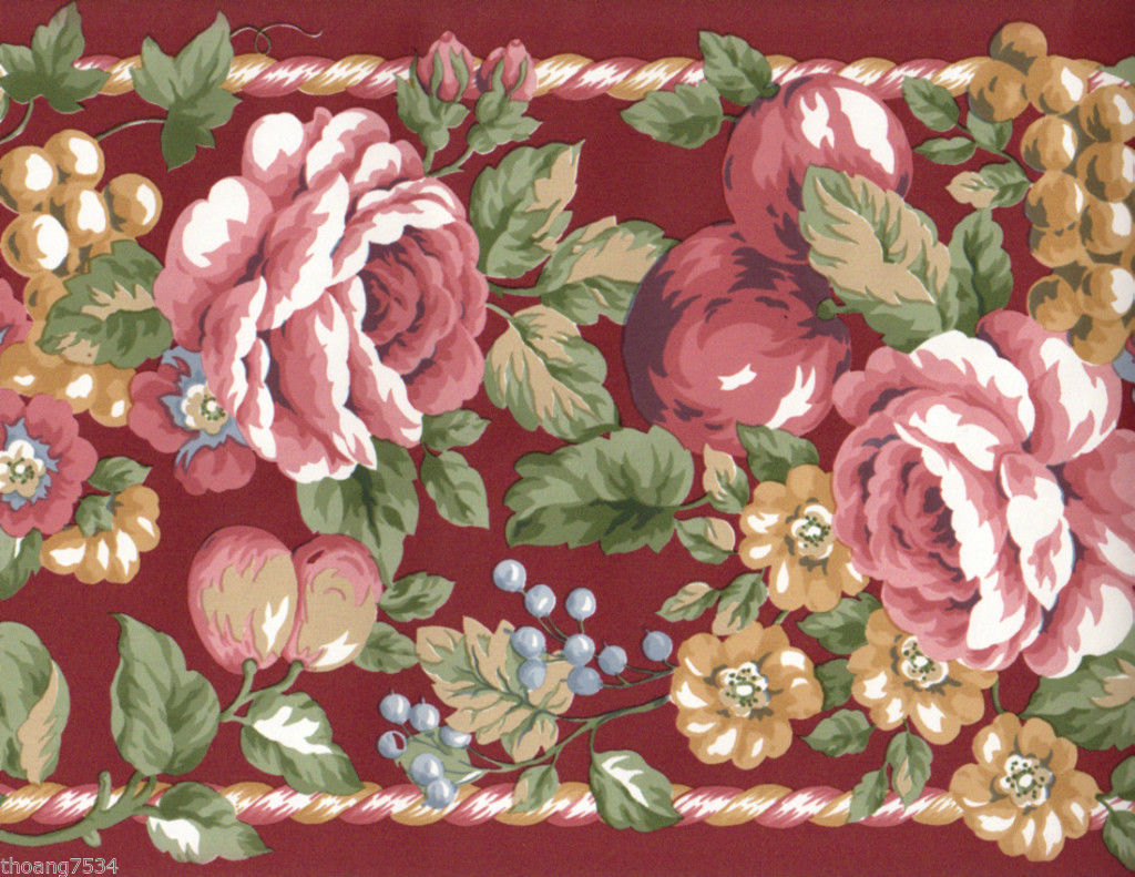 Red Burgundy Cabbage Rose Floral Flower Fruit Apple Grape Rope Wall 1024x791