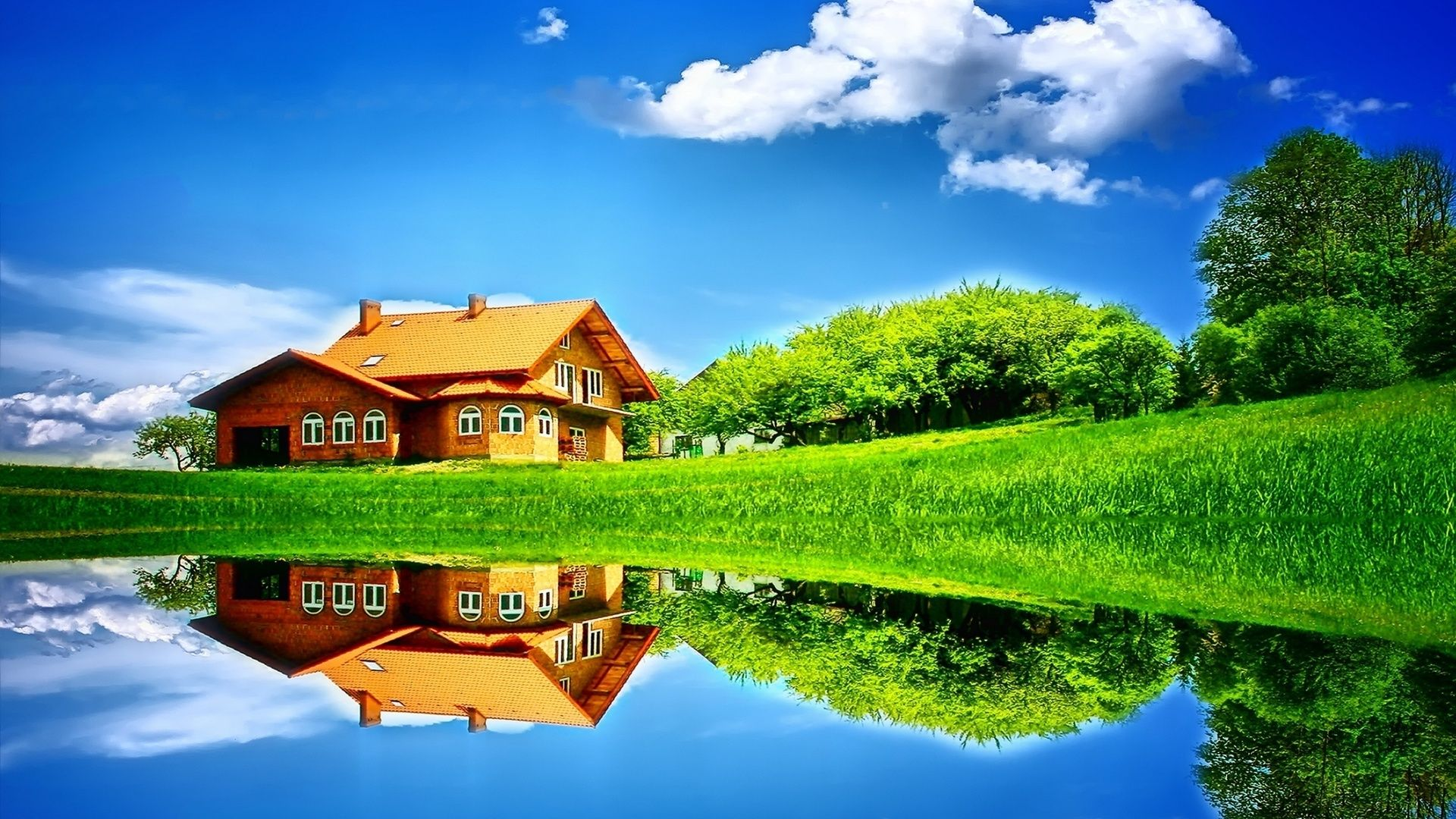 House reflected in the lake wallpaper Wallpapers Home 1920x1080
