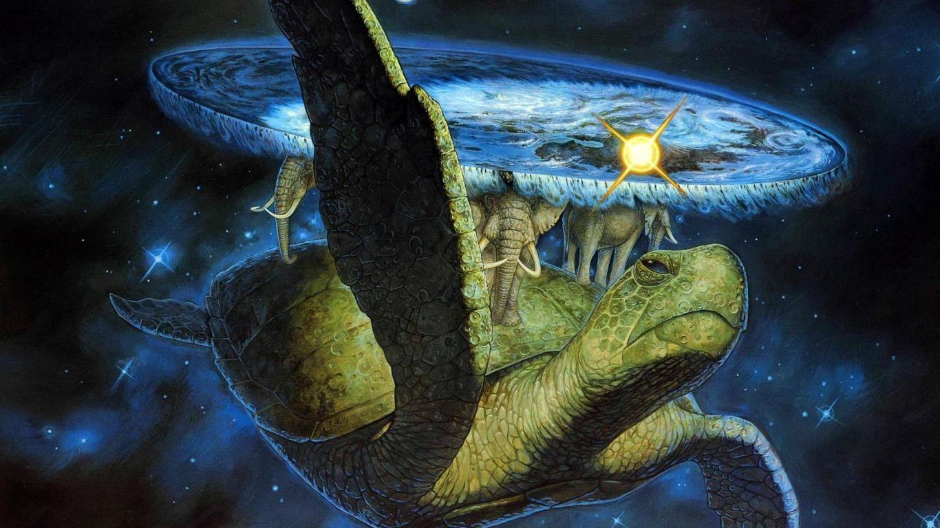 Green sea turtle and elephants wallpaper Terry Pratchett 1366x768
