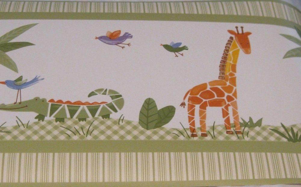 Wallpaper Border 30ft Animals Elephant Giraffe Alligator Green eBay 1000x622