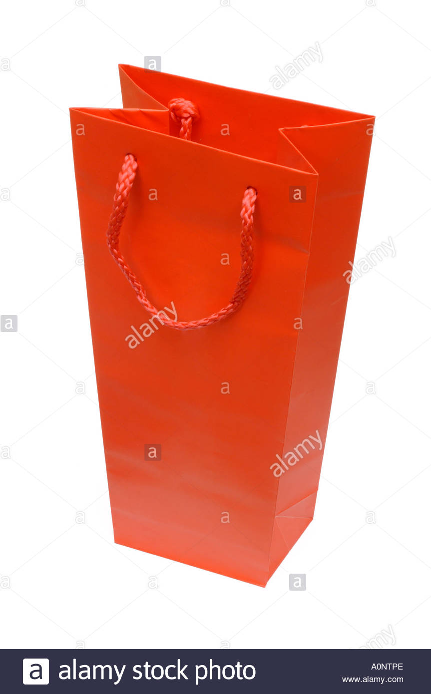 Red paper booze gift bag with string handles on white background 863x1390