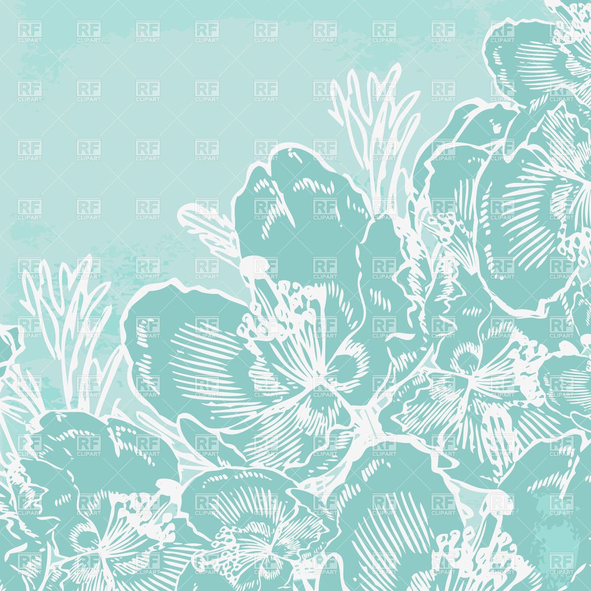 vintage blue greeting card with hand drawn flowers 21766 Backgrounds 1200x1200
