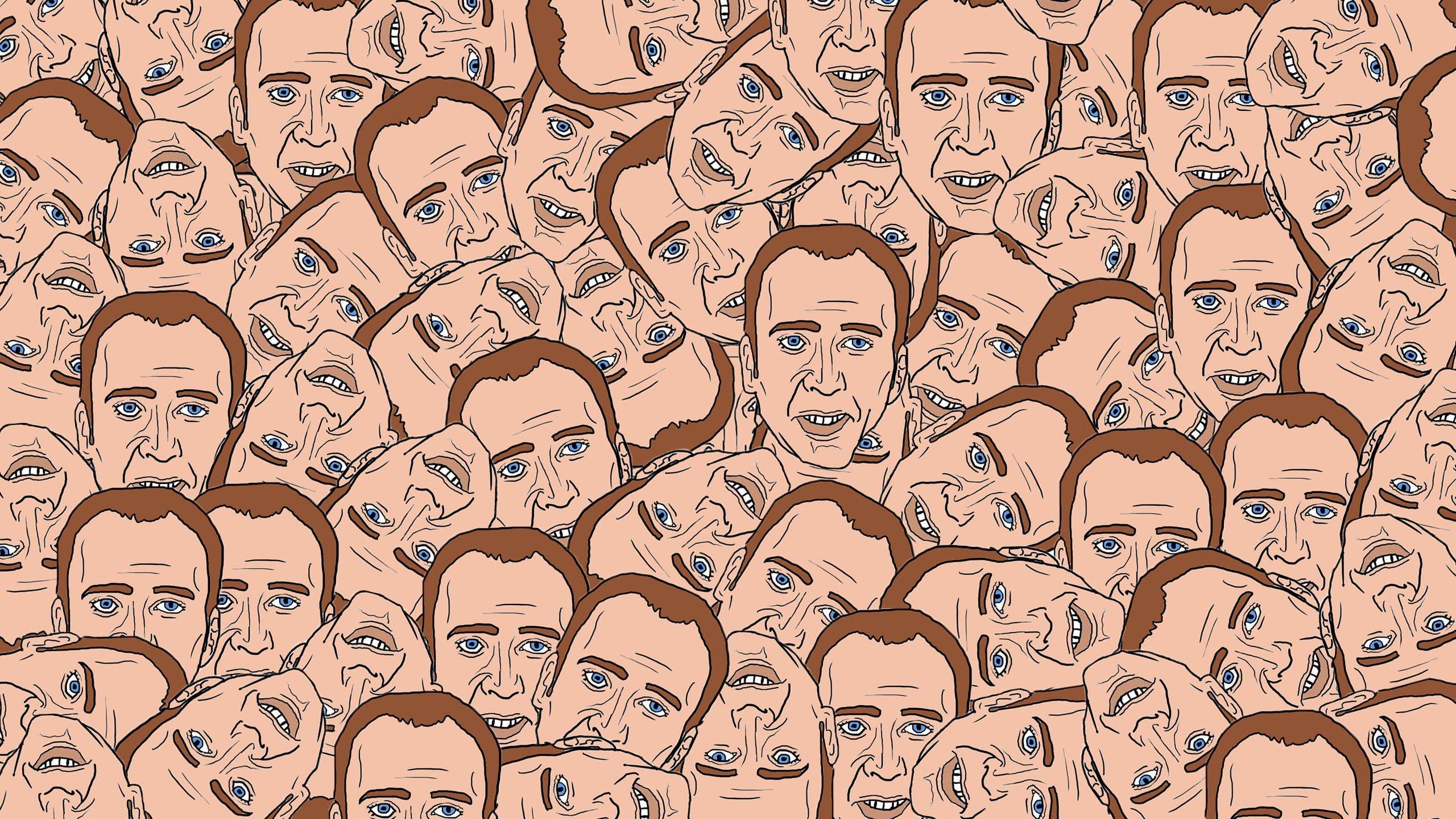 Creepy WTF funny head disturbing Nicolas Cage wallpaper 2560x1440 2560x1440