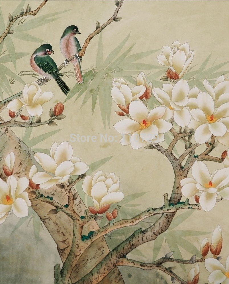 Customized Hand painted silk wallpaper HAND PAINTED painting 804x995