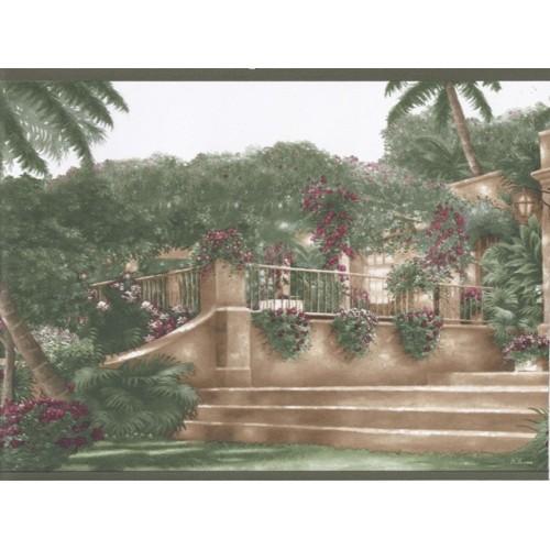 Green Palm Tree Landscape Wallpaper Border 500x500