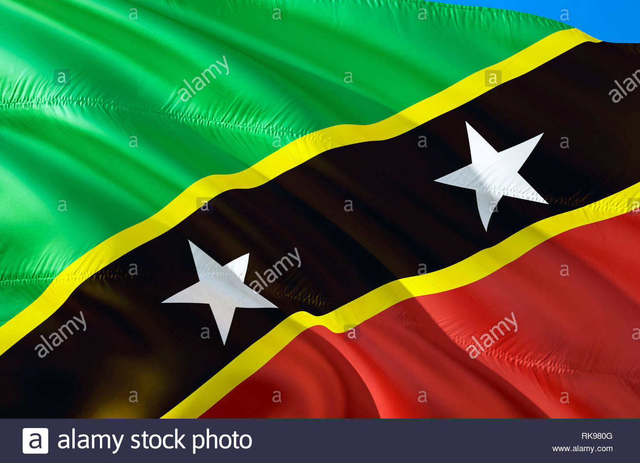 Saint Kitts and Nevis flag 3D Waving flag design The national 1300x940