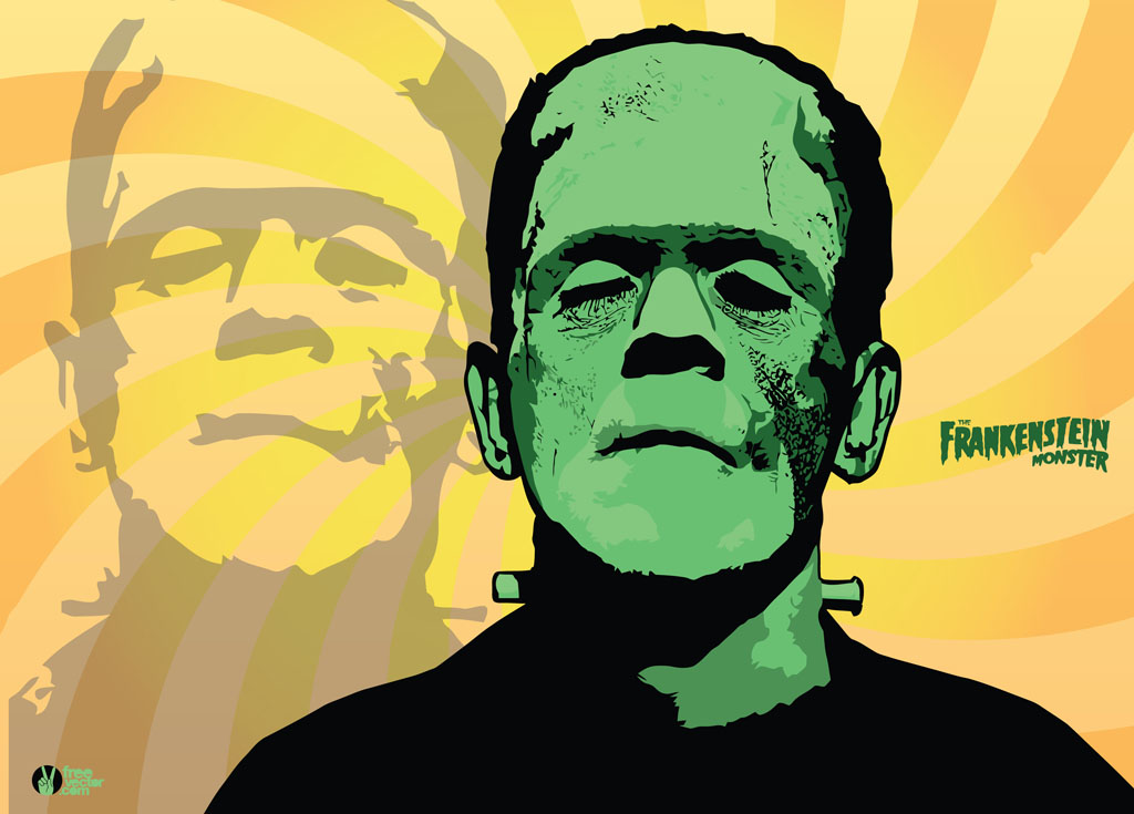 This great looking Frankenstein pinup is simple and cool Nicely 1024x735