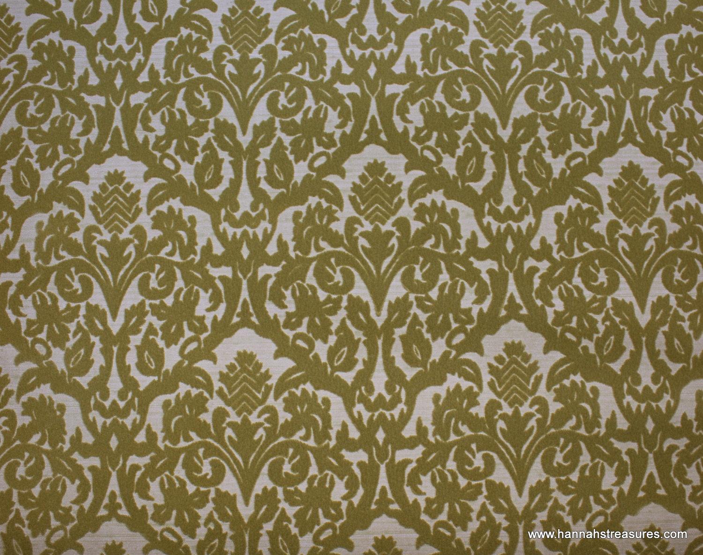 1970s Vintage Wallpaper Flocked olive green Damask on 1500x1183