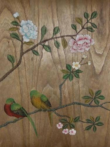 Chinese Hand Painted Wallpaper CHINOISERIE 28   La Chibeau Company 375x500