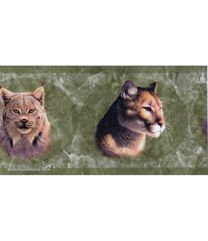 Green Wild Cats Wallpaper Border 700x812